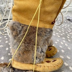 Shoes - Suede & Fur Moccasin Boots